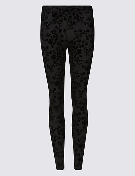 Floral Flock High Waist Leggings