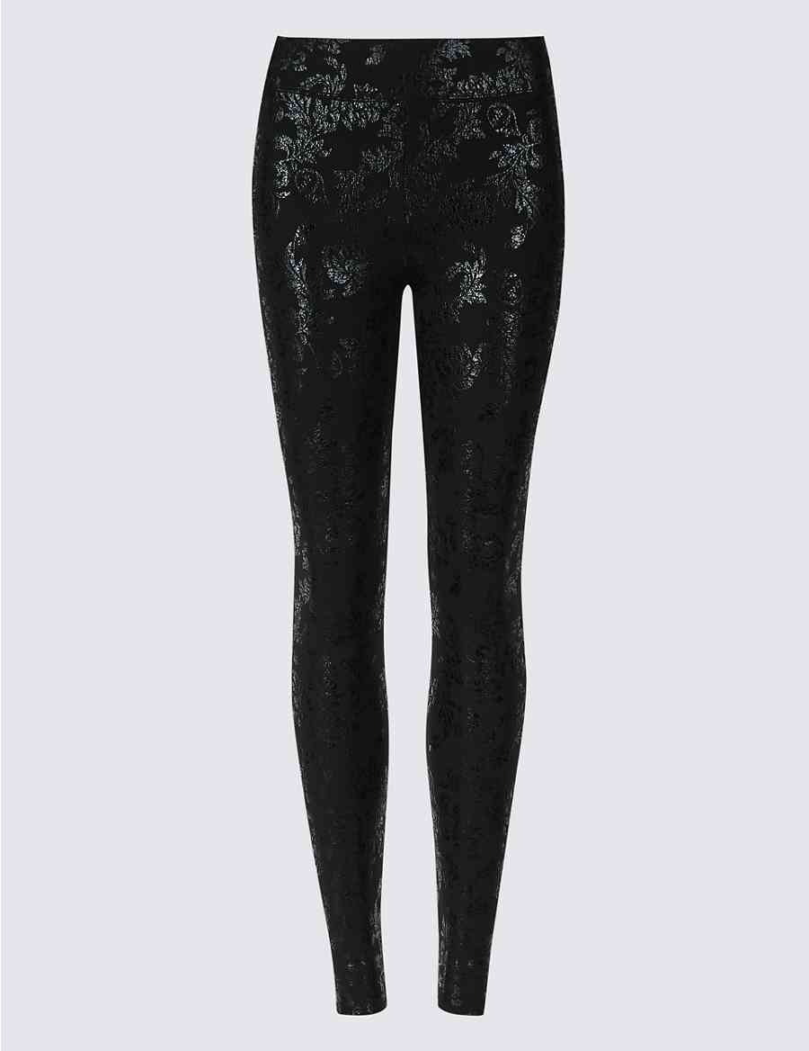 b732226e7bd9ed Floral Foil High Waist Leggings
