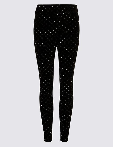 9004379543 Spotted Velvet Leggings | M&S Collection | M&S