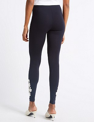 Embroidered Leggings navy mix Marks and Spencer