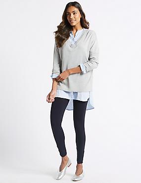 Cotton Rich Hem Button Leggings