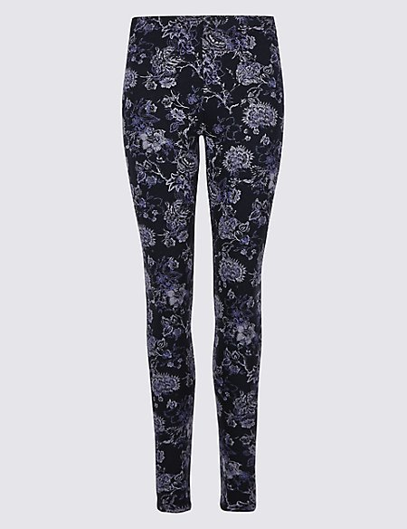 Cotton Rich Floral Print Leggings