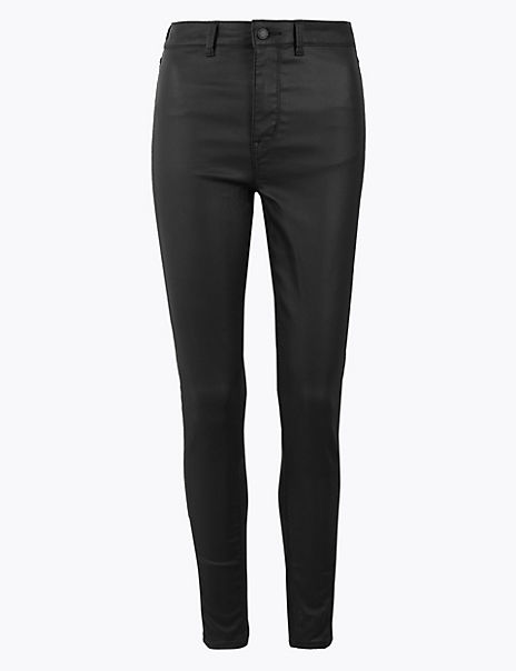 High Waist Ankle Grazer Coated Jeans