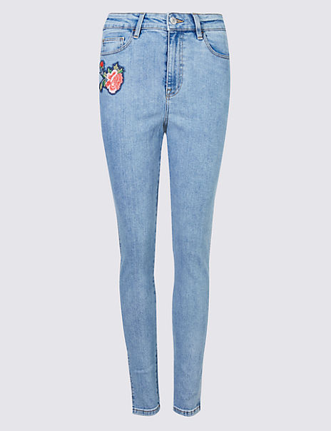 Floral Embroidered Skinny Leg Jeans