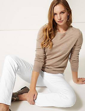 Mid Rise Straight Leg Jeans , SOFT WHITE, catlanding