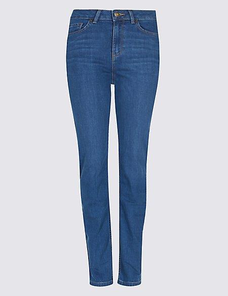 Ozone Mid Rise Straight Leg Jeans