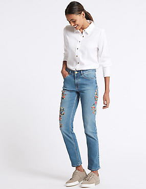 Floral Embroidered Mid Rise Jeans