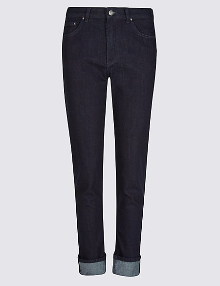 Turn-up Mid Rise Relaxed Slim Jeans
