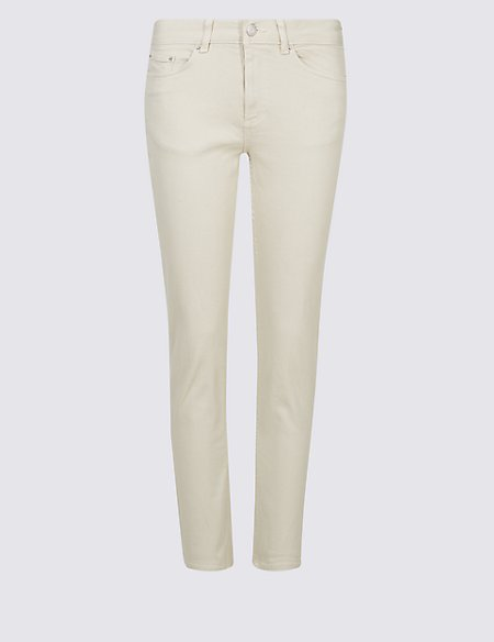 Relaxed Slim Leg Mid Rise Cropped Jeans