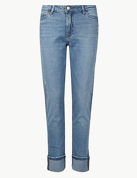 Mid Rise Relaxed Slim Leg Ankle Grazer Jeans