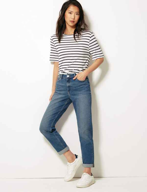 494fb8d25 Relaxed Mid Rise Slim Jeans