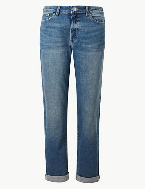 Relaxed Mid Rise Slim Jeans