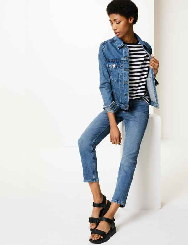 c8f061414eed94 Relaxed Mid Rise Slim Cropped Jeans