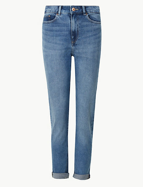 Relaxed Mid Rise Slim Cropped Jeans