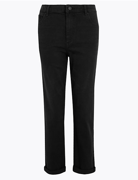 Relaxed Mid Rise Ankle Grazer Jeans