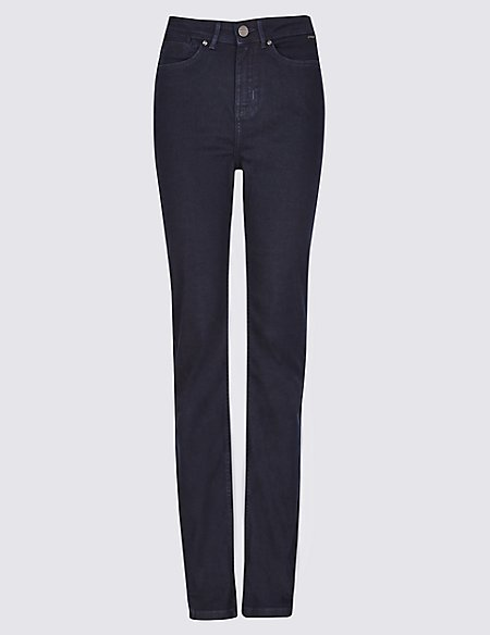 Rivet Detail High Waist Straight Leg Jeans