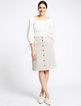 Pure Cotton A-Line Midi Skirt