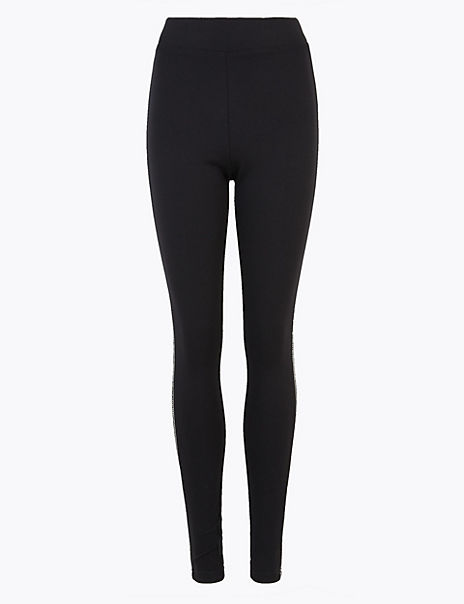 Sequin Side Stripe Ankle Grazer Leggings