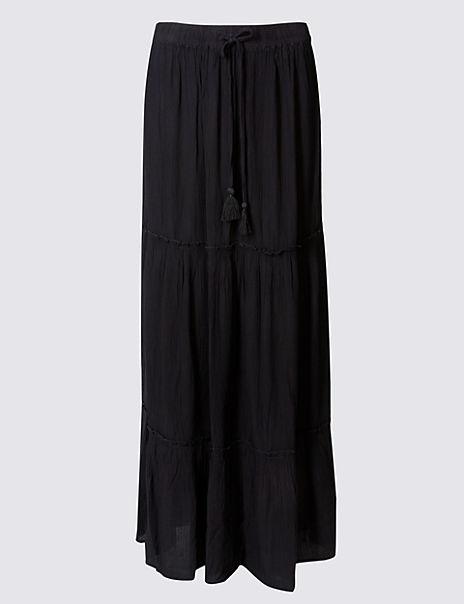 Drawstring A-Line Maxi skirt