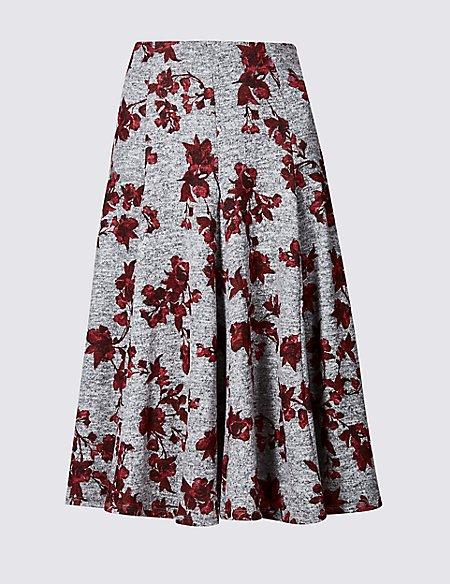 Floral Print Full Midi Skirt