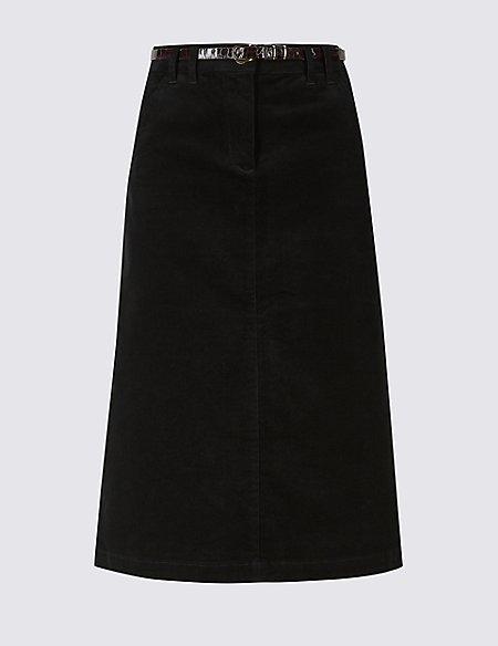 Corduroy Pencil Midi Skirt