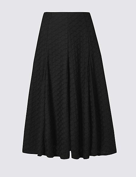 Textured Full Midi Skirt