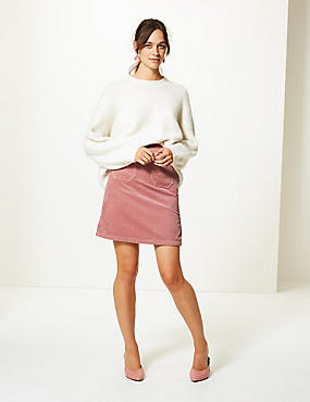 Corduroy A-Line Mini Skirt