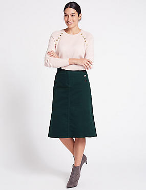 Cotton Rich Cord A-Line Midi Skirt