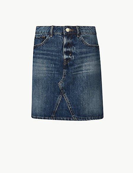 Pure Cotton Denim Mini Skirt