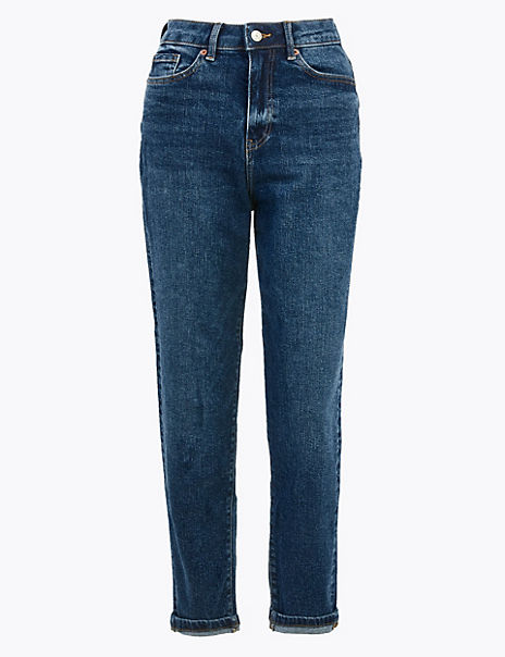 High Waist Mom Fit Ankle Grazer Jeans