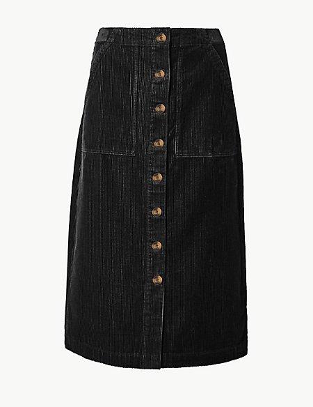 Pure Cotton Corduroy A-Line Midi Skirt