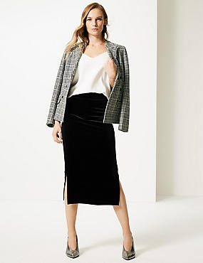 Textured Jersey Pencil Midi Skirt