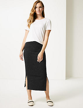 Sparkly Jersey Pencil Midi Skirt