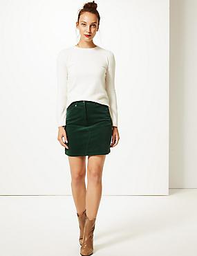 Cotton Rich A-Line Mini Skirt