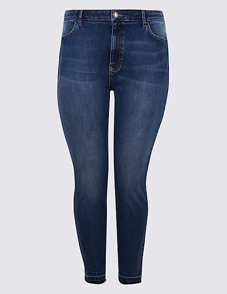 CURVE Drop Hem High Waist Skinny Leg Jeans