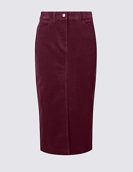 Cotton Rich Textured Pencil Midi Skirt