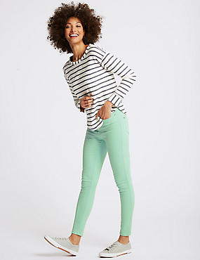 Mid Rise Super Skinny Jeans, LIGHT JADE, catlanding