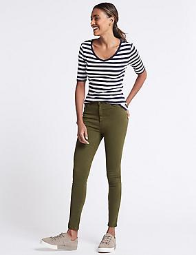Mid Rise Super Skinny Jeans, KHAKI MIX, catlanding