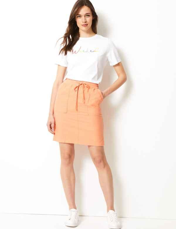 789c928845 Linen Rich A-Line Mini Skirt