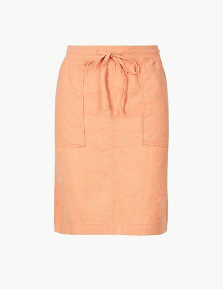 Linen Rich A-Line Mini Skirt