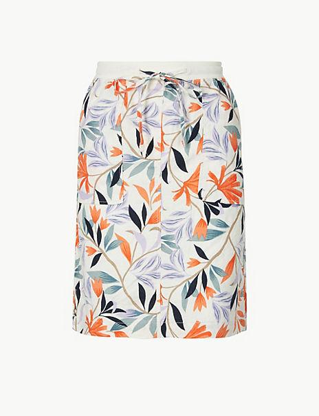 Linen Rich Leaf Print A-Line Mini Skirt
