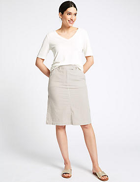 Pure Cotton Striped Skirt