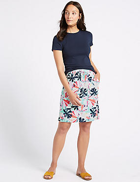 Linen Rich Floral Print Pencil Skirt