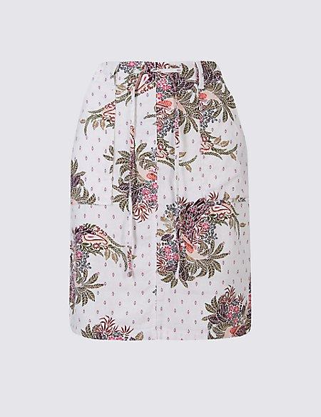 Linen Rich Floral Print Pencil Midi Skirt