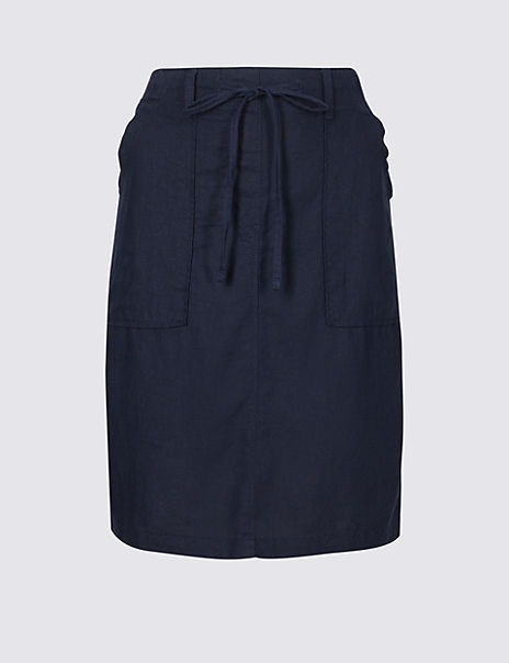 Linen Rich Elasticated Waist Mini Skirt