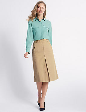 Cotton Rich Pleated Midi Skirt