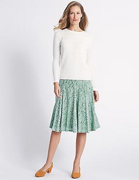 Cotton Rich Floral Lace A-Line Midi Skirt