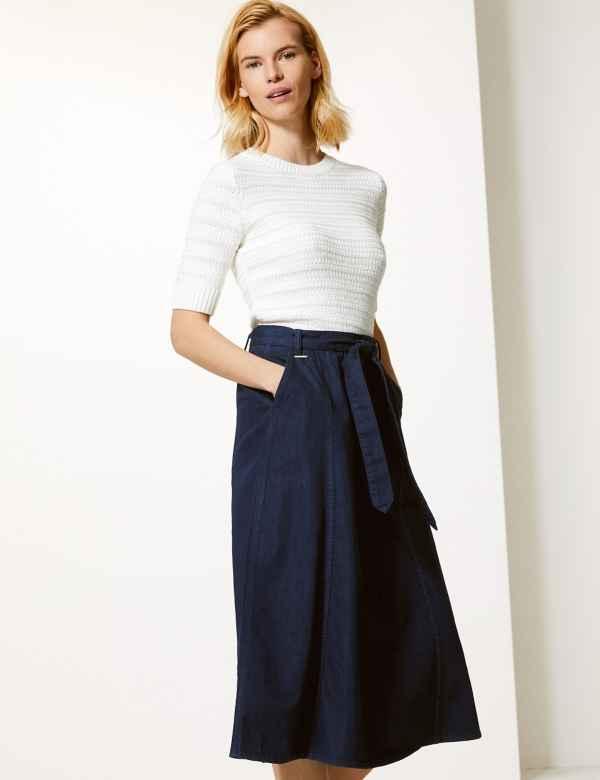 2b6474c8dd30b Pure Cotton Denim Midi Skirt