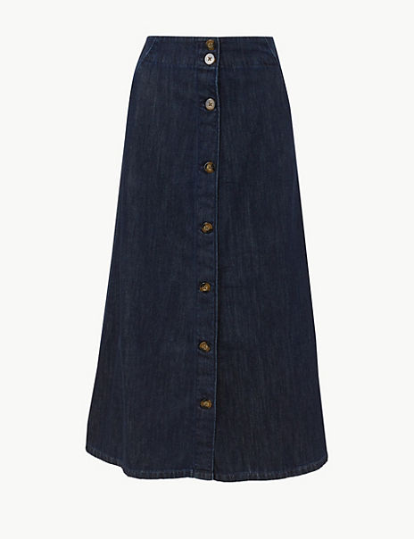 Button Detailed Denim Midi Skirt