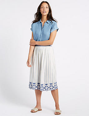 Striped Embroidered Hem Midi Skirt
